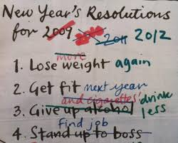 A whiteboard with a list of new year's resolutions, some words crossed out.